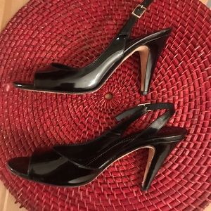 Kate Spade Open Toe Black Leather Pumps Heels